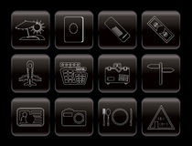 Line Travel and trip Icons. Vector Icon Set Stock Photo