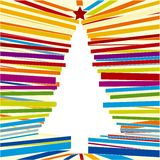Line tree (vector). Illustration of lines with a christmas tree in white Stock Images