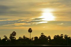 Silhouette at sunset royalty free stock photography