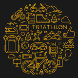 Line triathlon logo and icons. Silhouettes of figures triathlete. Sport label and badge for clubs and t-shirts Royalty Free Stock Images
