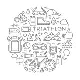 Line triathlon logo and icons. Vector sport label and badge for. Line triathlon logo and icons. Silhouettes of figures triathlete. Vector sport label and badge Royalty Free Stock Image
