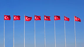 Line of turkish flags Stock Image
