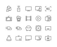 Line TV Icons. Simple Set of TV Related Vector Line Icons. Contains such Icons as Screen, Menu, Record and more. Editable Stroke. 48x48 Pixel Perfect stock illustration