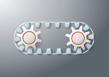 Line Two Gears 18 Options. Line with two gears and 18 options. Eps 10  file Stock Image