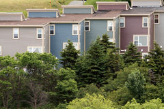 Line Up. Row of houses in Newfoundland,Canada Stock Photos