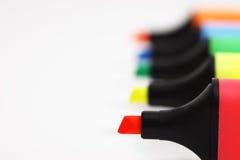 Line up av textmarkörer Fotografering för Bildbyråer