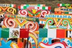 Line up av Trachinera fartyg i Xochimilco Royaltyfria Bilder