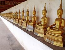Line up buddha image statues. Royalty Free Stock Photography