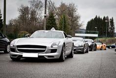 Line up för sportbil Arkivbild