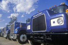 A line up of Mack trucks Royalty Free Stock Photos
