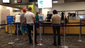 Line up people for applying driver license stock video footage