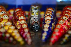 Line Up with Russian Dolls Stock Images