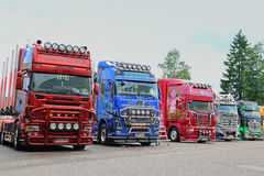 Line Up of Show Trucks at Riverside Truck Meeting 2015 Royalty Free Stock Photo