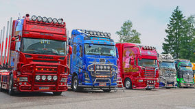 Line Up of Show Trucks at Riverside Truck Meeting 2015 Stock Image