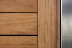 Line up teak wood with metal Stock Photography