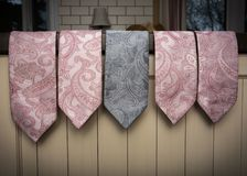Line up of ties. With paisley pattern royalty free stock image