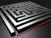Line up to challenge the maze. Illustration royalty free illustration