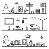 Line urban landscape illustration. Vector cityscape or street thin patterns Stock Photo