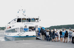 Line at Vaxholm ferry Royalty Free Stock Photos