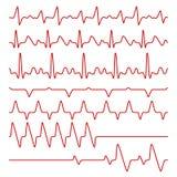 Line vector cardiograms or electrocardiogram on monitor, heartbeat medical symbols Royalty Free Stock Photos