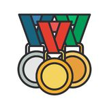 Line vector color medal and winner award icon. Sport equipment, success symbol. Athletic competition. Championship. Line vector color medal, winner award icon royalty free illustration