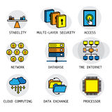 Line vector design of the internet, computer network & technolog Royalty Free Stock Photo