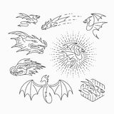 Line vector dragon objects Royalty Free Stock Photo