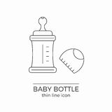 Line vector icon for baby bottle. With nipple and cap on white background royalty free illustration