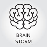 Line vector icon brainstorm as brain on white. Black flat line vector icon with a picture of brainstorm as brain on white background royalty free illustration