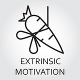 Line vector icon extrinsic motivation as carrot on a rope. Black flat line vector icon with a picture of extrinsic motivation as carrot on a rope on white Royalty Free Stock Photo