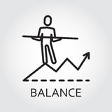 Line vector icon with man goes on the chart. Black flat line vector icon with a picture of balance as man goes on the chart on white background Stock Images