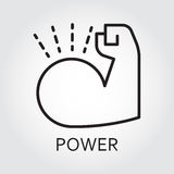 Line vector icon power as muscle hand. Black flat line vector icon with a picture of power as muscle hand on white background Royalty Free Stock Photos