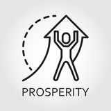 Line vector icon prosperity as man lifts arrow Stock Photography