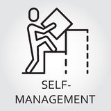 Line vector icon self-management as man builds a graph Stock Photo
