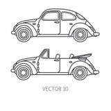 Line vector icon set retro tourism auto. Classic 1950s style. Nostalgia subcompact antique automobile. Summer travel. Vacation. Vintage cartoon car. Highway royalty free illustration