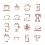 Line vector icons. Drinks. Coffee. Royalty Free Stock Image