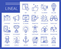 Line vector icons in a modern style. Marketing Advertising and PR, methods of promotion, business management, distribution of the objectives and resources Royalty Free Stock Images