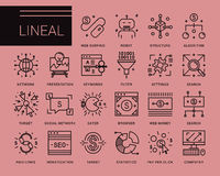 Line vector icons in a modern style. Pay per click , promotion and monetizing of website, marketing and public relations, network access, search engine Stock Photos