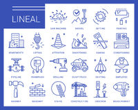 Line vector icons in a modern style. Stock Photos