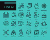 Line vector icons in a modern style. Search and selection of staff, Support and Assistance in Problem Solving, Jobs in the Corporation Royalty Free Stock Photography