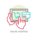 Line vector internet shopping concept - browser Stock Image
