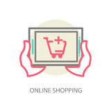 Line vector internet shopping concept - browser Stock Photo