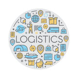 Line vector logistics icons. Royalty Free Stock Image