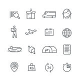 Line vector logistics icons. Stock Photos