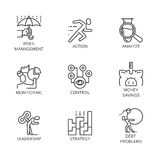 Line vector set icons symbol business process Stock Image