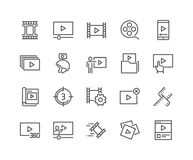Line Video Content Icons. Simple Set of Video Content Related Vector Line Icons. Contains such Icons as Presentation, Stream, Library and more. Editable Stroke Stock Photography