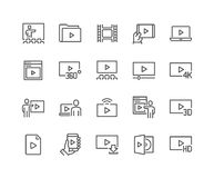 Line Video Icons Stock Images