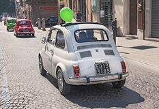 Line of vintage Fiat 500 Stock Photography