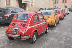 Line of vintage Fiat 500 Royalty Free Stock Image