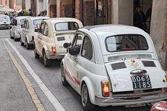 Line of vintage Fiat 500 Royalty Free Stock Images